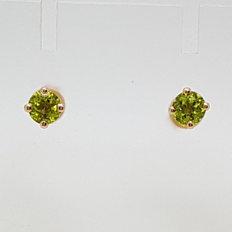 9ct Rose Gold Round Claw Set Peridot Studs / Earrings