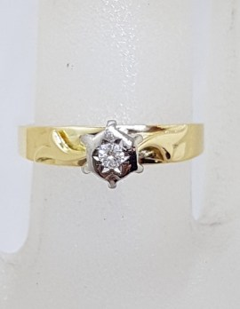 18ct Yellow Gold High Set Diamond Solitaire Ring - Antique / Vintage