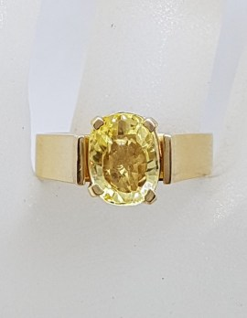 9ct Yellow Gold Oval Natural Golden Yellow Sapphire Claw and High Set on Wide Band Ring - Antique / Vintage