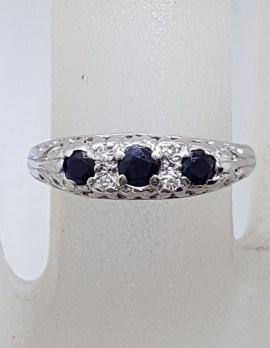 9ct White Gold 3 Natural Blue Sapphires with Diamonds Ornate Filigree Design Bridge Set Ring