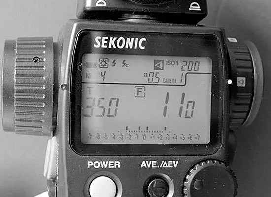4 readings displayed approx -2 to +3 using the Mid.Tone button and jog wheel to move indicators within range - an exposure of 1/350th at F11 200ISO