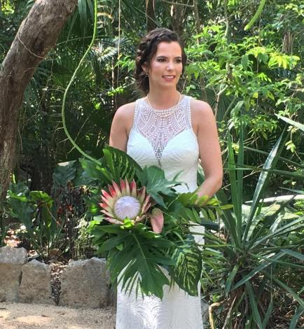 Bride Fiona before entering her elopement ceremony