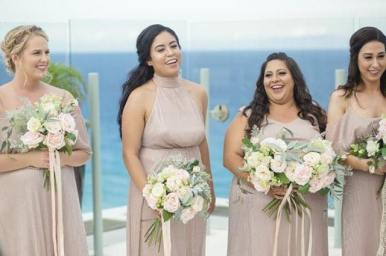 bridesmaids during the wedding,cancun,mexico
