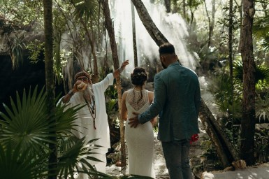Fiona and Hilton during tulum elopement ceremony, Riviera Maya, Mexico