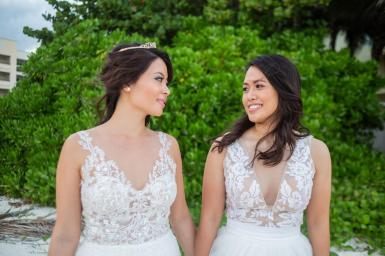 brides emily and jennifer destination wedding in riviera maya