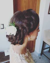 braided updo for bride in tulum