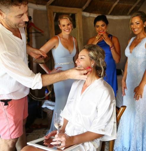 getting hair and makeup with bride renata in tulum