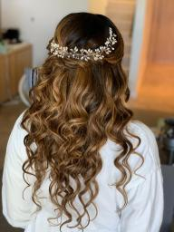 bridal beach waves hair half updo