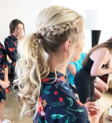 bridesmaid braided ponytail at rosewood mayakoba