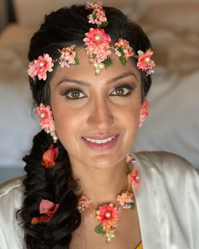 Pooja hair and makeup ready for Pithi ceremony and photo session at El Dorado Royale,