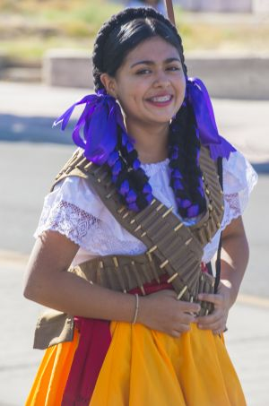 Girl in Hispanic Costume for Heritage Culture Month