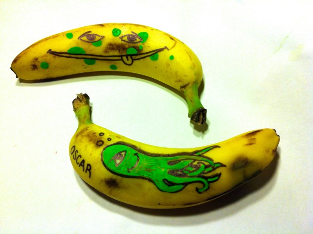 Bananas, one for Oscar and Damien.