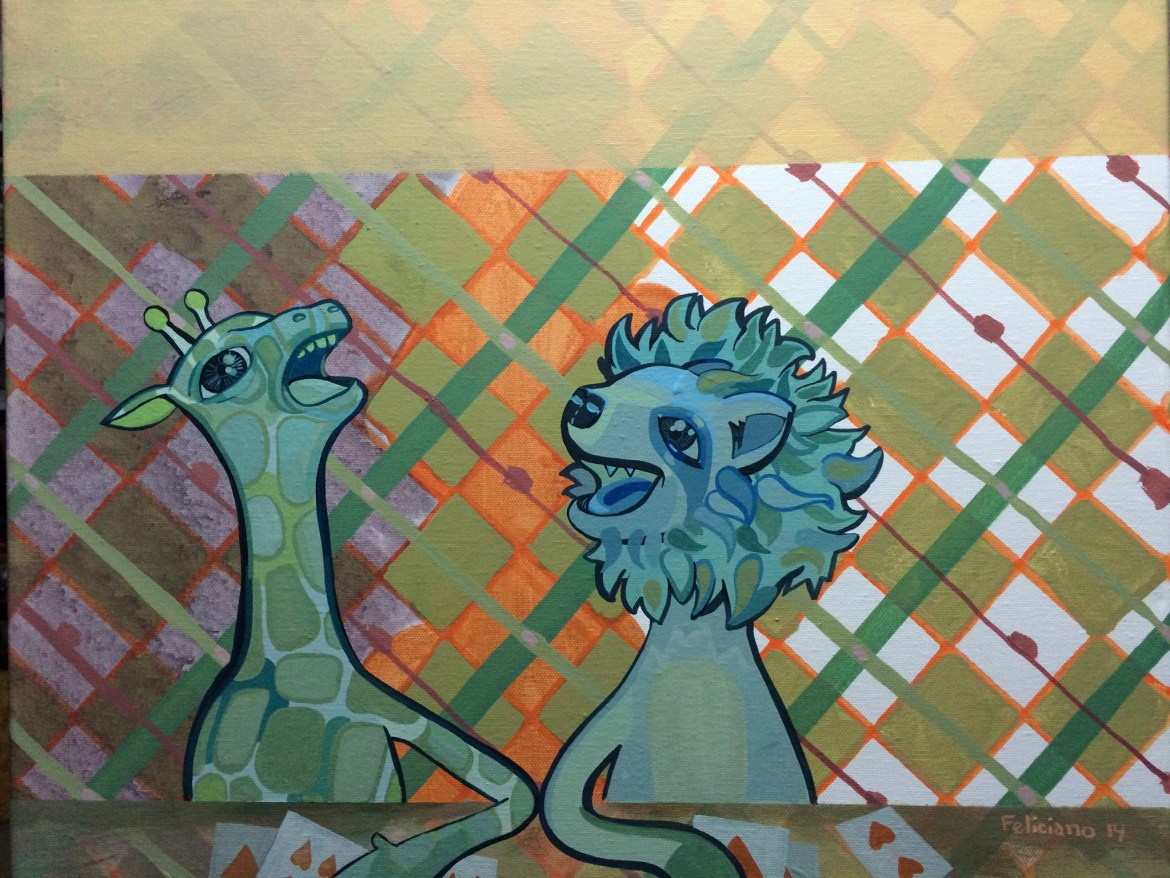 A giraffe and a lion on a plaid background. 2013, alex feliciano