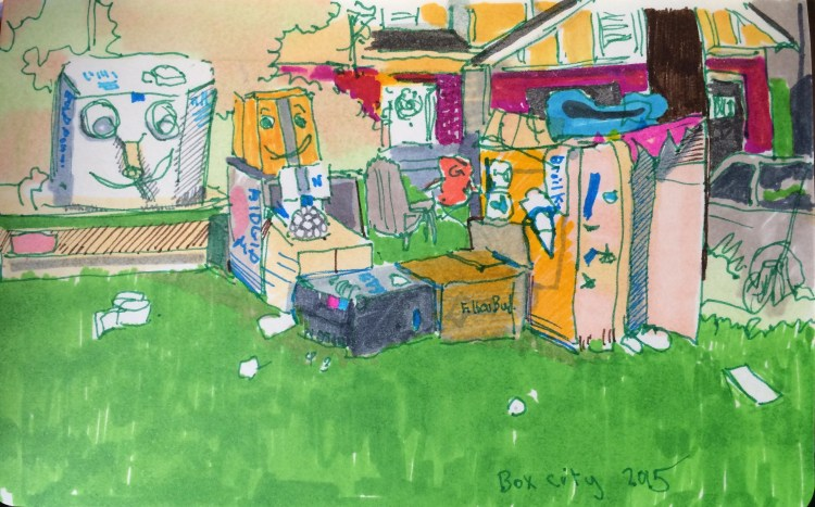 ink drawing of a front yard with boxes in it.