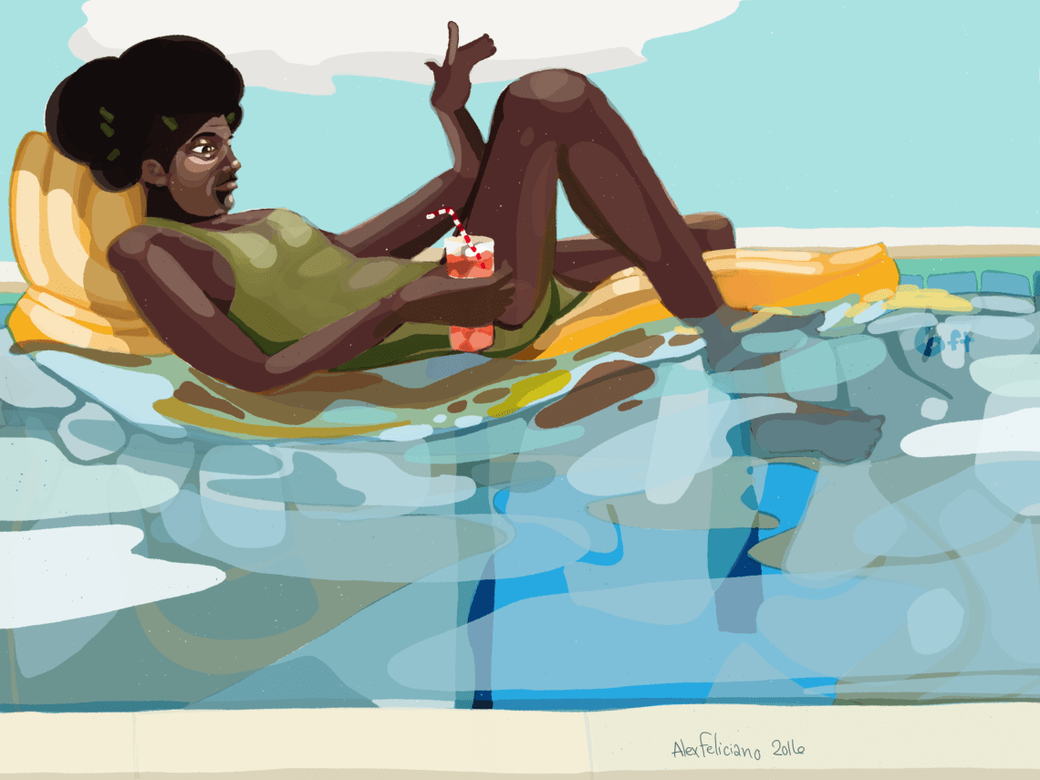 Getting sun in the pool on a yellow float