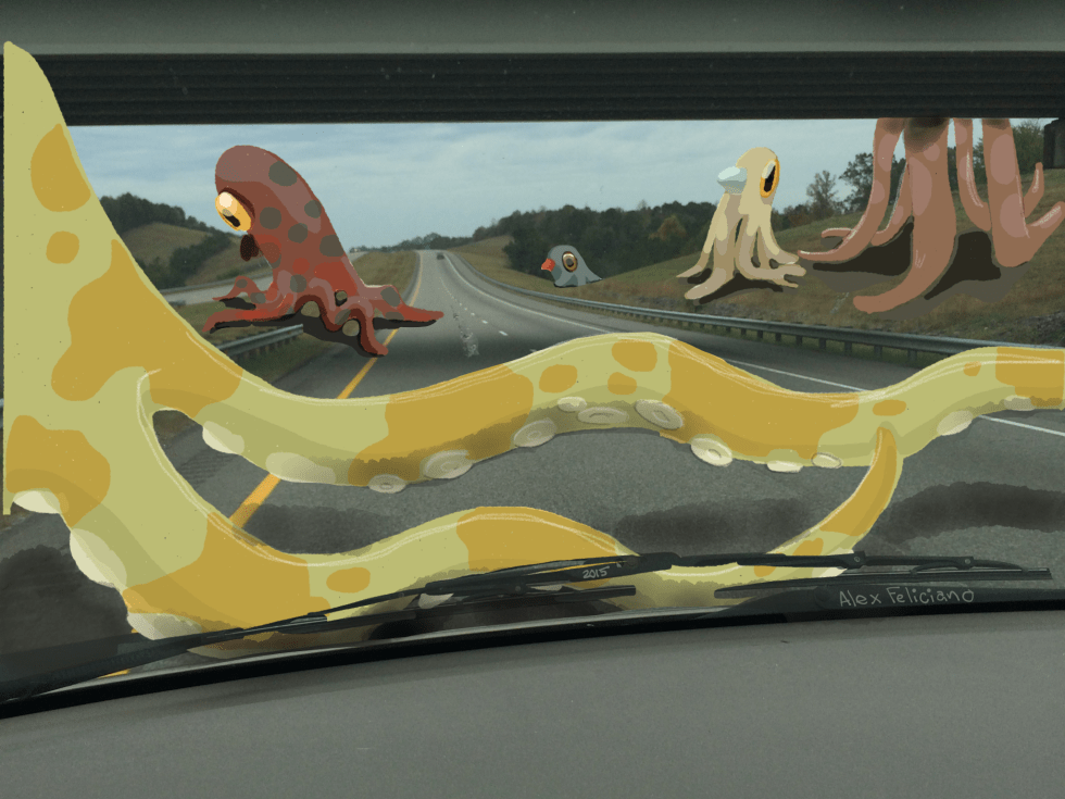 Giant squids crossing a highway.