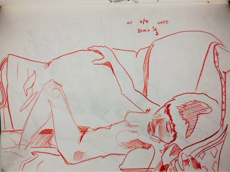 Alex Feliciano, drawing of a woman on couch.