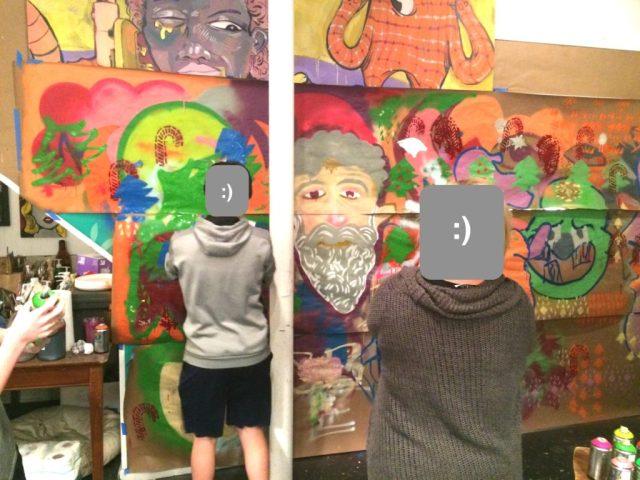 Street art class making wall paper