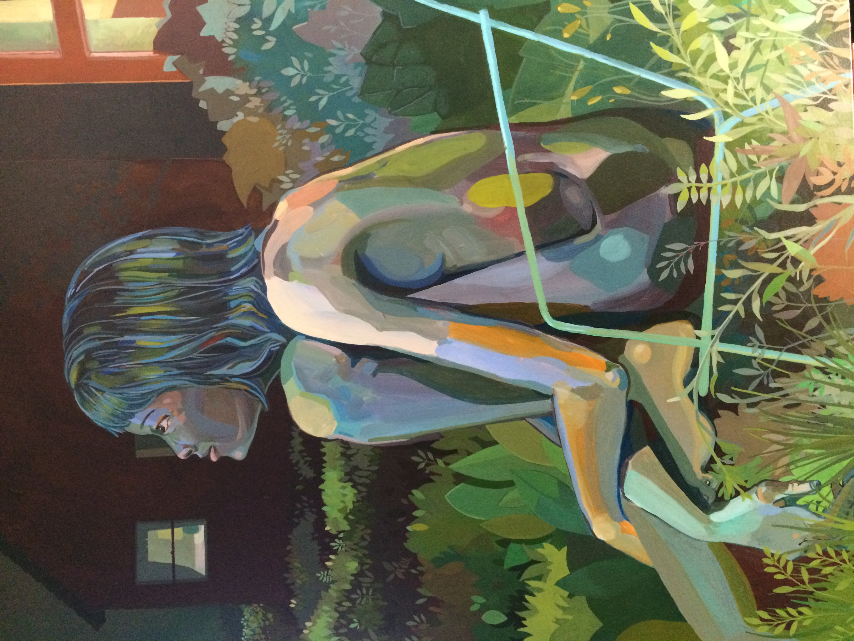 "Woman siting in a lawn chair, lite by window light. 30""x40"", acrylic on canvas, by alex feliciano"