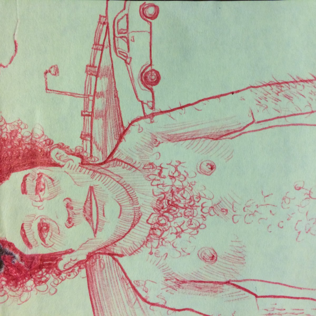 drawing of shirtless on post-it note with red pen