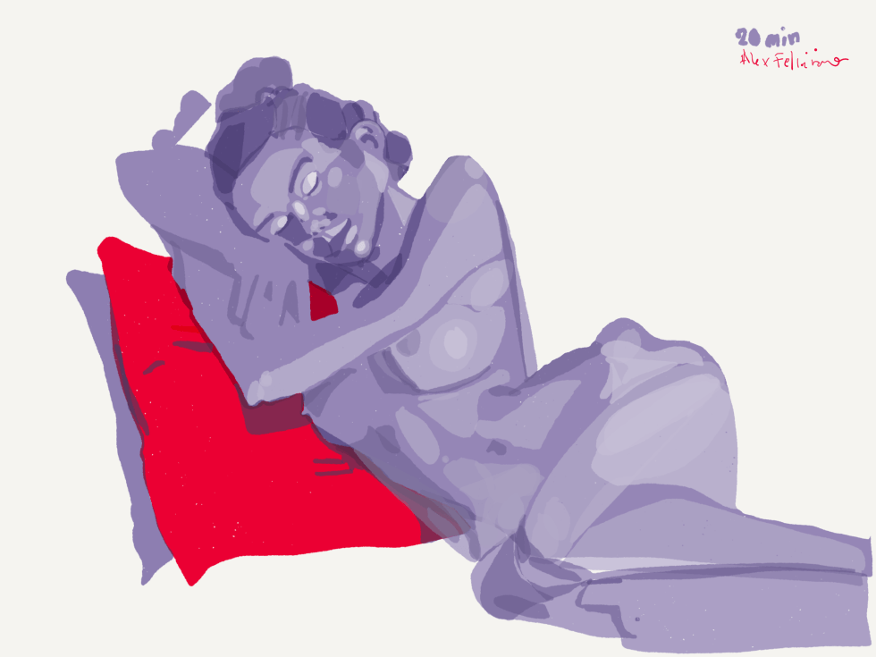 woman resting on pillows by alex feliciano