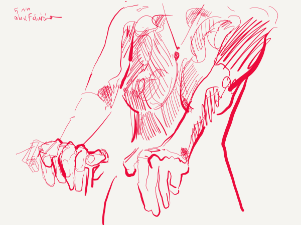 Red pen, woman stretches with hands forward by alex feliciano