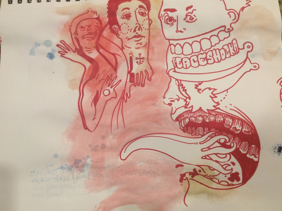 Drawing if faces in red marker