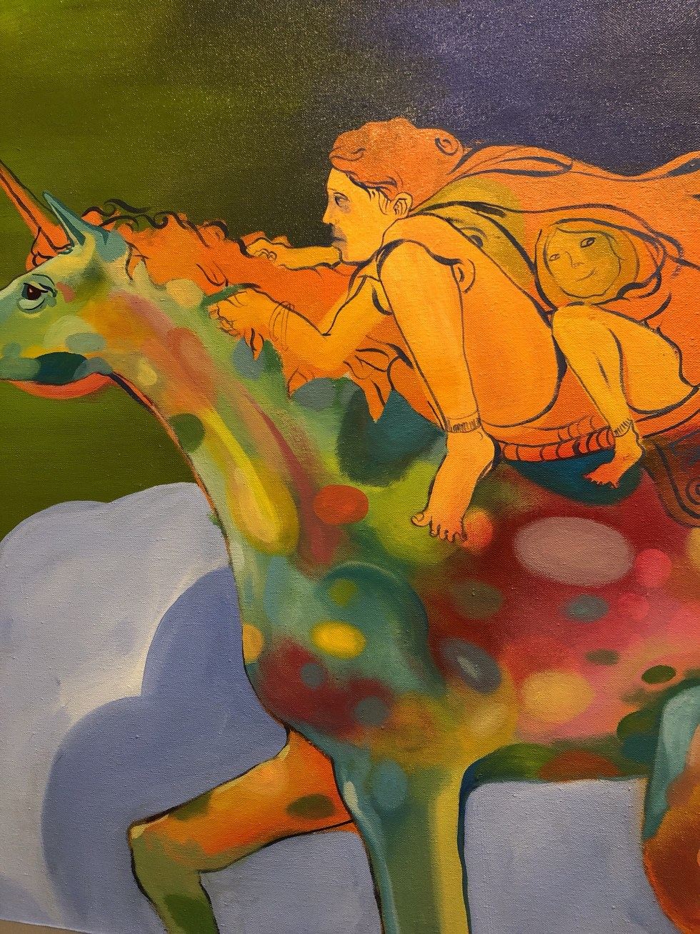 Painting of riding on a unicorn