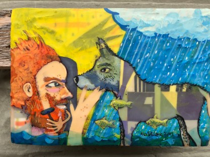 Redheaded, ginger, man with a beard shaving infront of his dog near a rain shower.