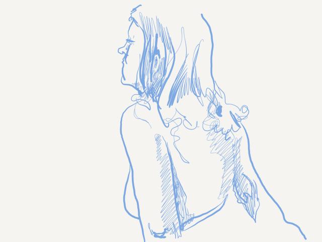 Digital sketch 15min, sketchbook page blue digital ink.