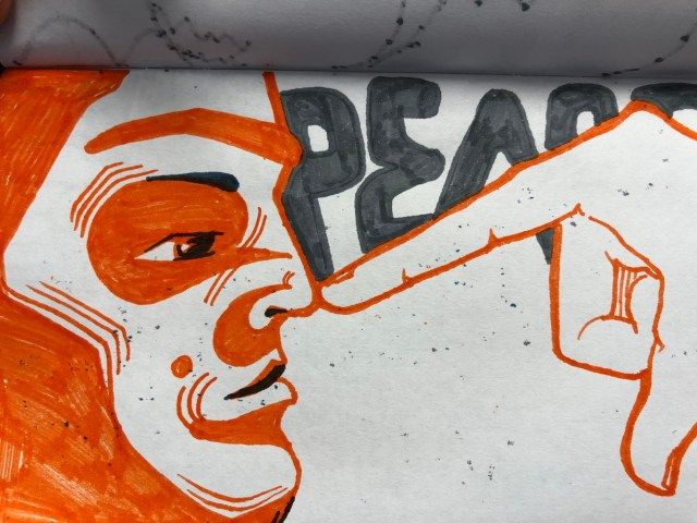 Drawing of pointing at nose by Alex Feliciano