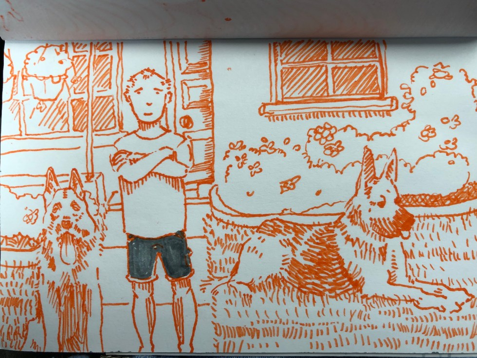 Drawing of The guy who lives in the yellow house at the end of the block. By Alex Feliciano