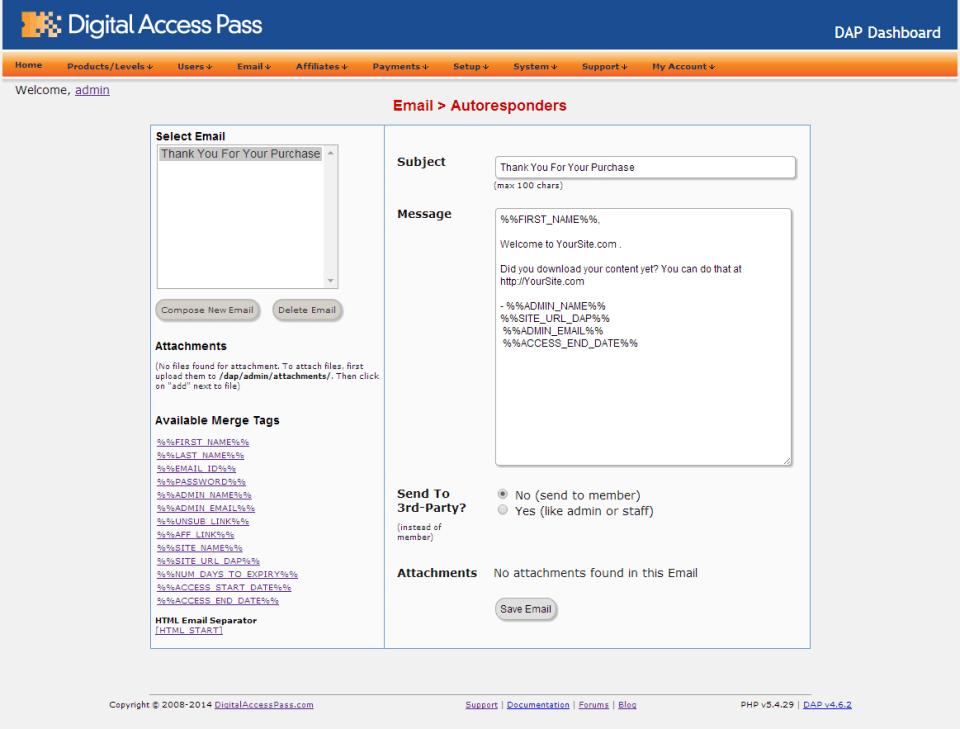 email - autoresponder