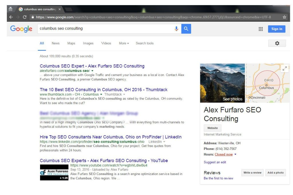 This is a picture of the #1 ranking for Columbus SEO Consulting with multiple listings on the first page.