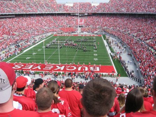 Image of an Ohio State Buckeyes Football game during the half time show with the Ohio State Marching Band