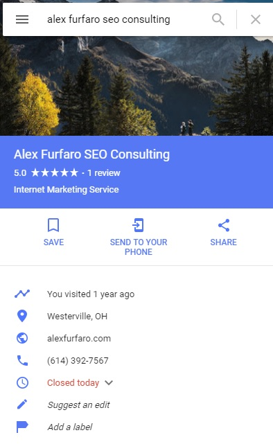 Google My Business listing for Alex Furfaro SEO Consulting