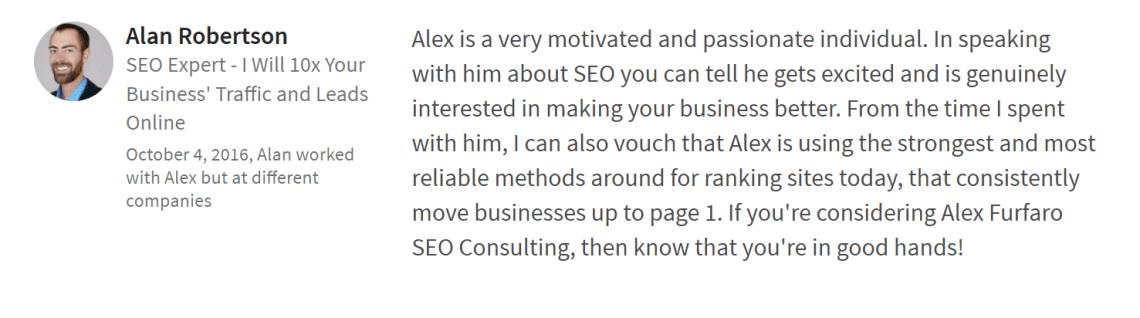 A testimonial from Alan Robertson of Ascendant Search Marketing