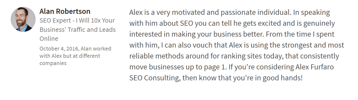 A testimonial from Alan Robertson of Ascendant Search Marketing