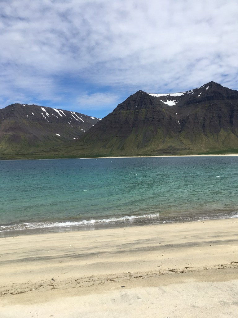 the beautiful sand beach in the Westfjords