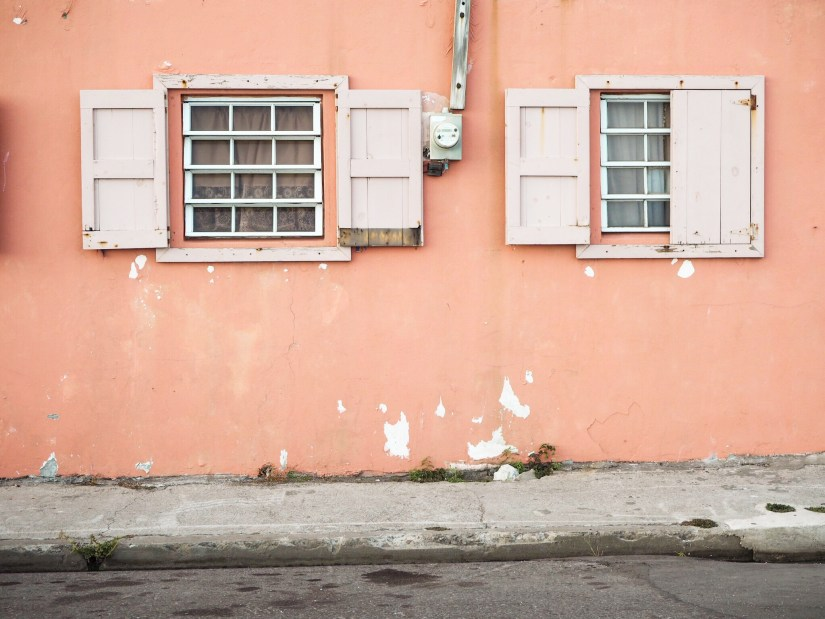 pink wall in the Caribbean