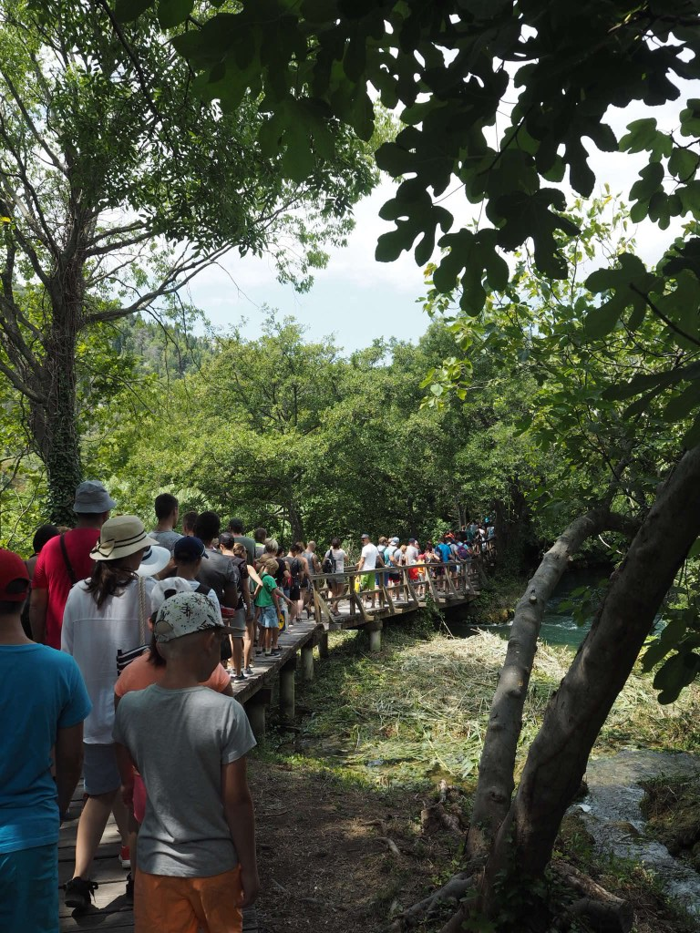 Evidence of overtourism at Krka National Park, Croatia