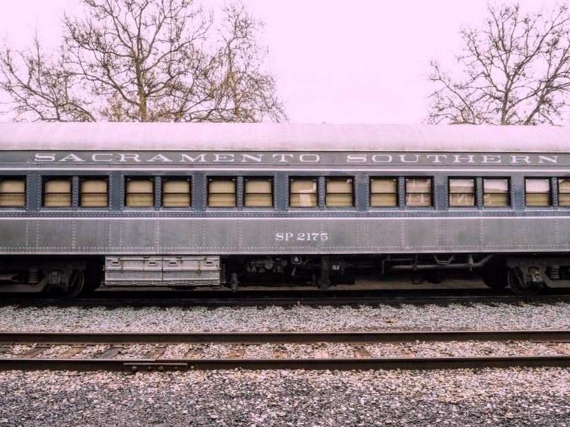 an old blue train in Sacramento