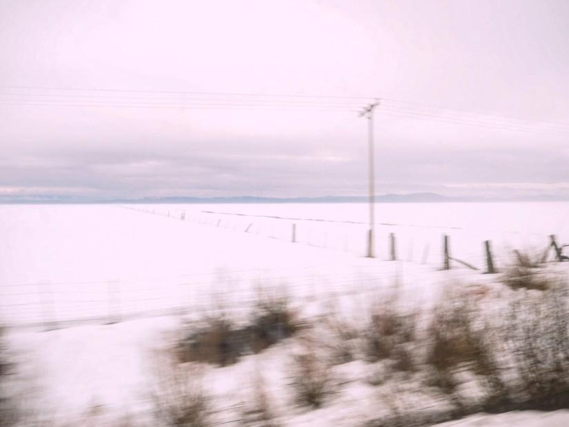 snowy fields in Oregon