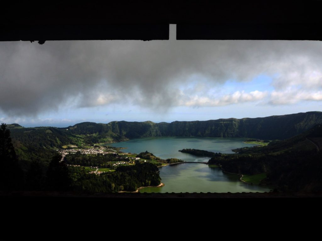 through a window in an abandoned hotel in the azores