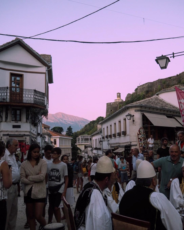 a busy street in Gjirokastër old bazaar