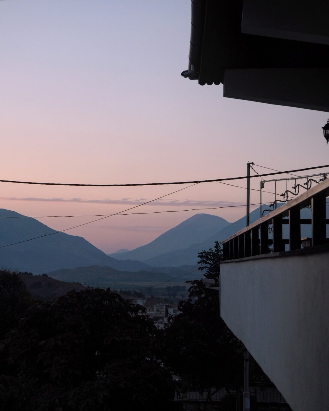 sunset over the mountains in Albania