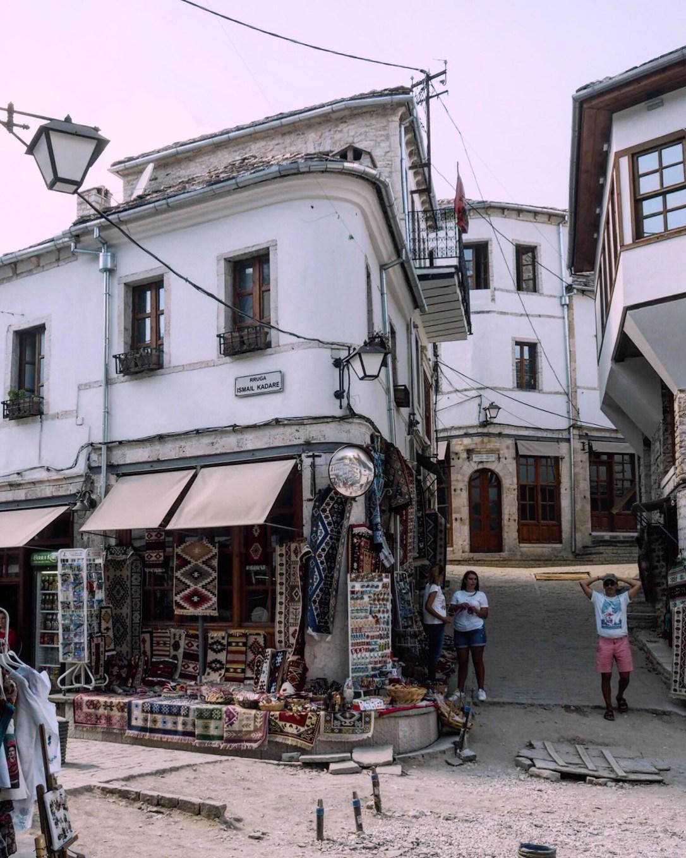 a street corner in Gjirokastër old bazaar