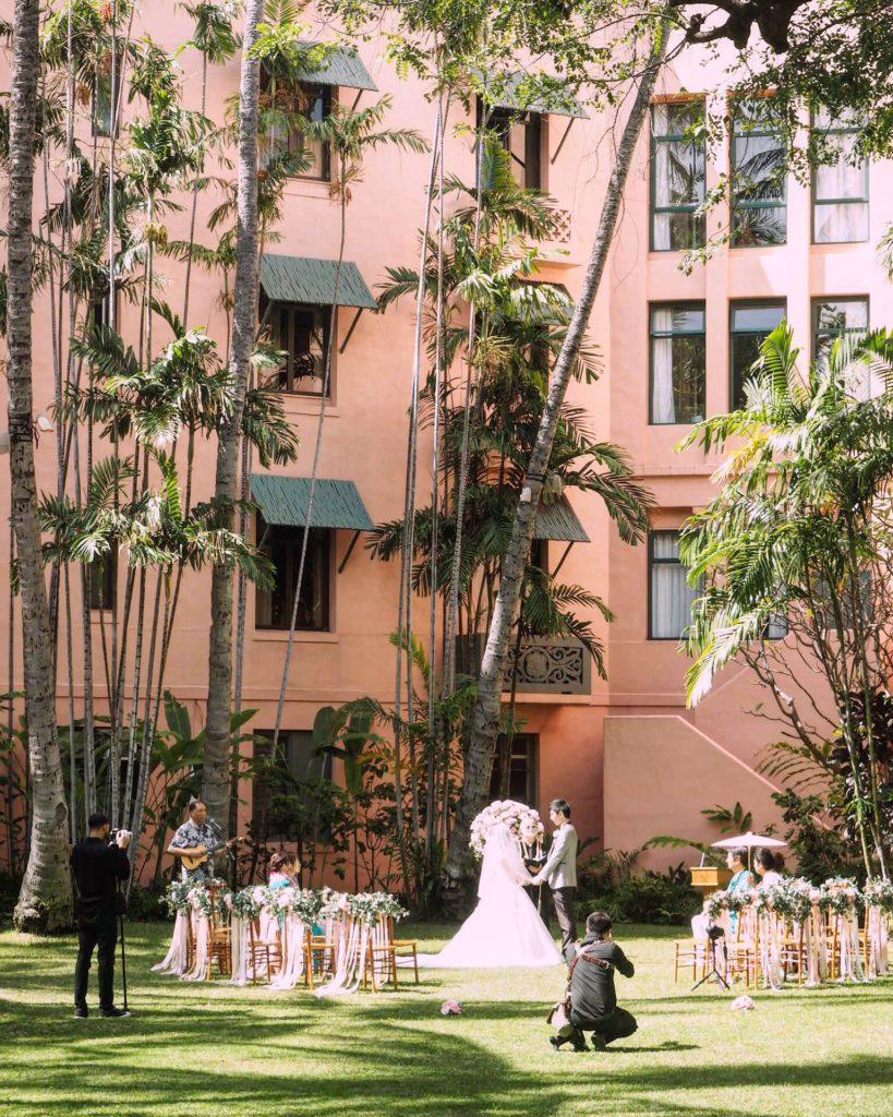 A wedding at the Royal Hawaiian Hotel