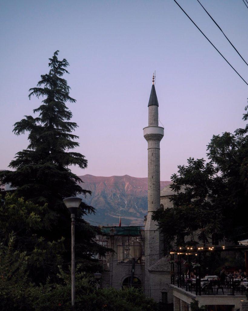 The mosque in Gjirokastër at sunset