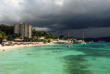 cruise ship crew life : Storm clouds above Montego Bay Jamaica